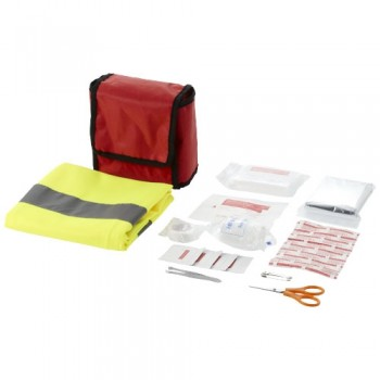 18 piece first aid kit and professional safety vest
