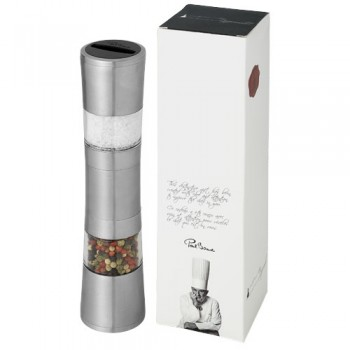 Dual pepper and salt grinder
