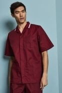 Men's Healthcare Tunic, Burgundy with White Trim