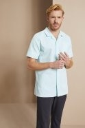 Men's Classic Collar Healthcare Tunic, Eau de nil & White Stripe