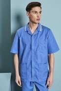 Men's Healthcare Tunic, Hospital Blue With White Trim