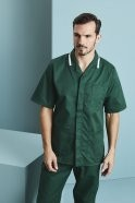 Men's Healthcare Tunic, Bottle Green With White Stripe