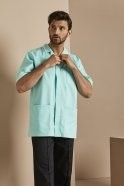 Men's Healthcare Tunic, Eau De Nil With White Trim