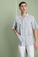 Men's Healthcare Tunic, Pale Grey With White Trim