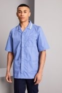 Men's Healthcare Tunic, Metro Blue with White Trim