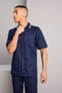Men's Healthcare Tunic, Navy with White Trim
