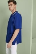 MM0560  Men's Healthcare Tunic, Royal Blue With White Trim