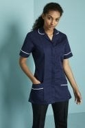 FM1410  Essentials Women's Classic Navy Healthcare Tunic With White Trim
