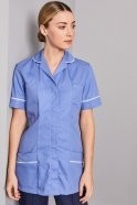 FM1490   Essentials Women's Classic Collar Healthcare Tunic, Metro Blue with White Trim