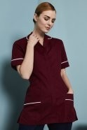 FM1350   Essentials Women's Classic Collar Healthcare Tunic, Burgundy with White Trim