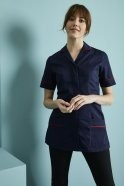 FM1420   Essentials Women's Classic Collar Healthcare Tunic, Navy with Red trim