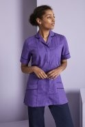 Essentials Women's Classic Collar Healthcare Tunic, Purple with Navy Trim