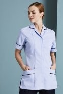 Essentials Women's Classic Collar Healthcare Tunic, Sky Blue with Navy Trim