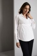 FB2840   Wrap Maternity Blouse With a Deep Cuff, White