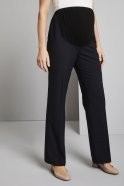 Qualitas Polywool Parallel Leg Maternity Trousers, Navy