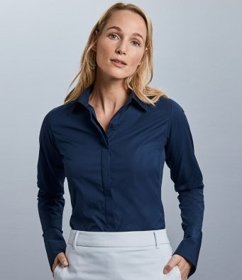 960F Russell Collection Ladies Ultimate Stretch Shirt