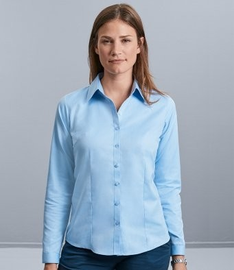 962F  Russell Collection Ladies Long Sleeve Herringbone Shirt