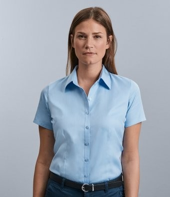 963F  Russell Collection Ladies Short Sleeve Herringbone Shirt