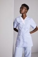 FM1680   Women's Zip Front Tunic, Sky Blue with White Trim