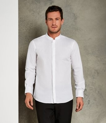 K161  Kustom Kit Long Sleeve Tailored Mandarin Collar Shirt