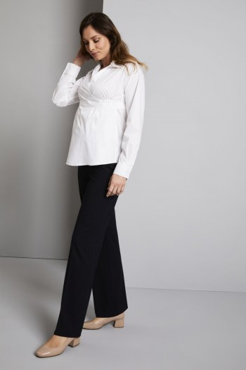 FT1720   Qualitas Polywool Parallel Leg Maternity Trousers, Navy