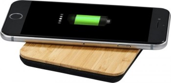 Leaf bamboo and fabric wireless charging pad