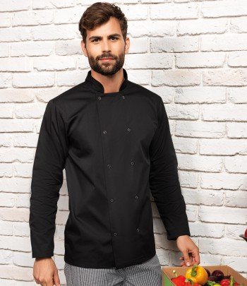 Premier Unisex Long Sleeve Stud Front Chef's Jacket